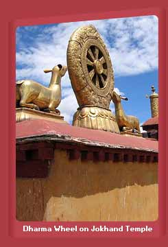 Dharma Wheel and Deer Sculpture on Jokhand Temple