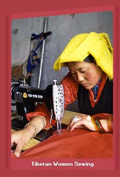 Tibetan Women Sewing
