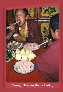 Young Tibetian Monks Eating