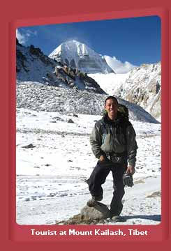 Tourist at Mount Kailash, Tibet